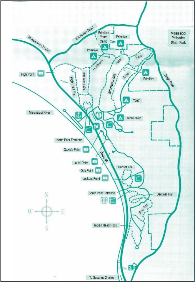 mississippi palisades state park map Mississippi Palisades State Park Illinois Birding By County mississippi palisades state park map